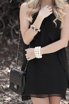 black chiffon windsor dress - black chanel Chanel bag