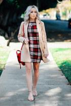 ruby red bodycon AX Paris dress - tan long Sheinside coat