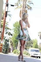 green floral print Forever 21 skirt - light blue pastel ted baker bag
