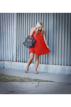 charcoal gray gray balenciaga bag - carrot orange flowy Armani Exchange dress