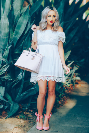 white Sheinside dress - light pink bow Sheinside heels