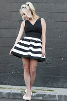 black crop top foreign exchange top - white striped foreign exchange skirt