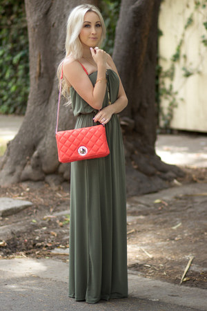 army green maxi dress Forever 21 dress - coral quilted kate spade bag