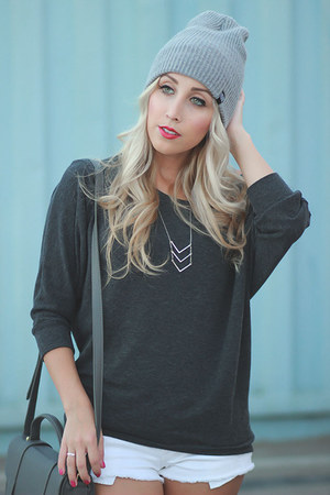 heather gray beanie zumies hat - charcoal gray slouchy Forever 21 sweater
