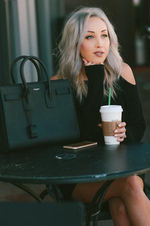 black cut out Dezzal sweater - black leather Saint Laurent bag