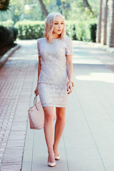 light pink pastel Henri Bendel bag - light blue lace Forever 21 dress