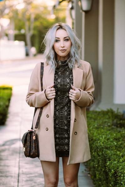 black lace Forever 21 dress - tan camel shein coat