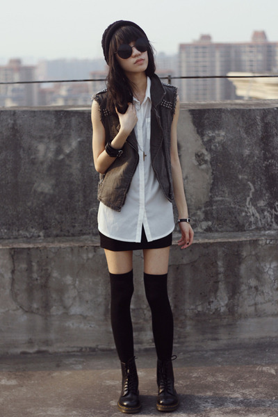 vest - Dr Martens boots - H&M skirt - 80spurple glasses