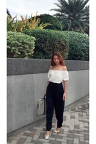 Mango pants - Local white off shoulder top