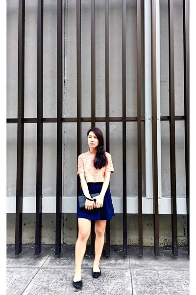 Zara skirt - Apple top - Salvatore Ferragamo flats