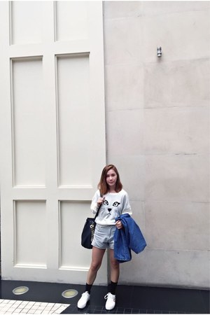 Stradivarius coat - bvlgari bag - grey shorts