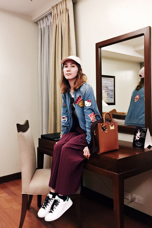 blue Zara jacket - bubble gum Adidas hat - tawny Sophie Hulme bag