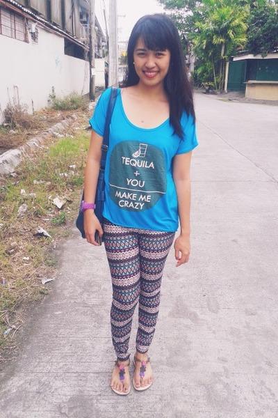 light blue thrifted leggings - teal Bayo Clothing bag