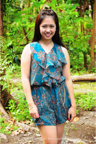 teal Plains and Prints bodysuit