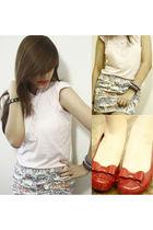 pink f&x blouse - white Zara skirt - red Melissa shorts