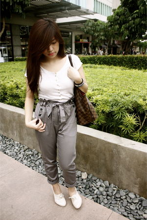 beige Bershka shirt - gray H&M pants - brown Louis Vuitton bag