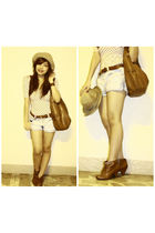 pink Zara blouse - blue Zara shorts - brown Nine West accessories - brown from m