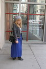 Blue-sheer-maxi-american-apparel-skirt-heather-gray-beanie-claires-hat