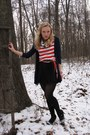 Black-olsenboye-dress-red-forever21-shirt-navy-american-eagle-cardigan-whi