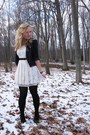 ivory Forever21 dress - navy Old Navy blazer - black shoes - black accessories -