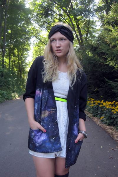 ivory lace Forever21 dress - black galactic DIY blazer