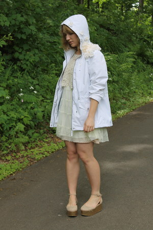 white flower DIY jacket - camel Forever 21 shoes - ivory lace Target dress