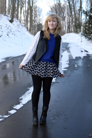 black Forever 21 dress - off white DIY jacket - blue Zara sweater