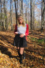 Red-forever21-cardigan-black-skirt-black-h-m-top-black-boots-black-promo