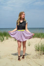 light purple floral skirt - charcoal gray top - chartreuse neon belt