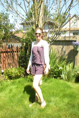 purple Romper made by me - white American Eagle cardigan - green rayban sunglass