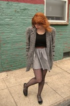 gray vintage coat - black Uniqlo top - gray vintage skirt - brown vintage belt -