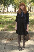 navy Laura Ashley dress - black H&M tights - black Urban Outfitters shoes - dark