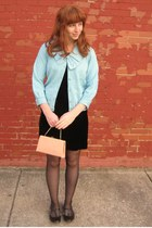 sky blue vintage sweater - black vintage dress - light pink vintage purse - blac