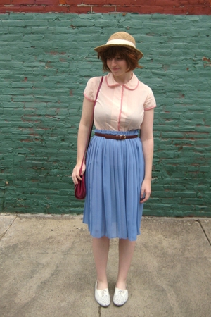 vintage hat - Gap blouse - vintage belt - vintage skirt - vintage shoes - vintag