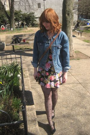 blue Levis jacket - pink vintage dress - black tights - black Urban Outfitters s