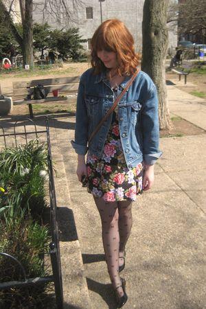 blue Levis jacket - pink vintage dress - black tights - black Urban Outfitters s