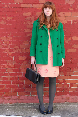 bubble gum 60s vintage dress - green vintage coat - gray H&amp;M tights - black box 