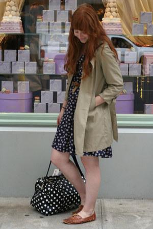black H&M bag - dark brown Etsy shoes - navy Gap dress - tan vintage jacket
