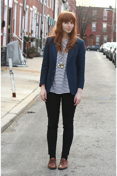 Black Stripe Thrift Ts Shirts Brown Oxfords Thrift Shoes