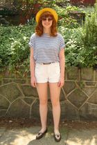 black stripe t-shirt - brown loafers shoes - yellow straw hat - white shorts