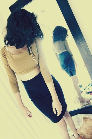 mustard crop top DKNY top - black pencil skirt Aritzia shirt