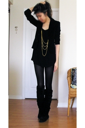 blazer - forever 21 blouse - shorts - H&amp;M tights - boots - forever 21 jacket