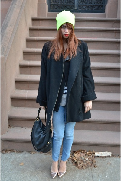 H&M coat - Topman hat - H&M sweater - Zara vest - shoemint heels