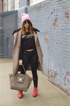 black joyce leslie sweater - red shoemint shoes - light brown Elie Tahari coat