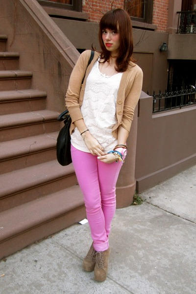 bubble gum H&M jeans - light brown Jeffrey Campbell shoes