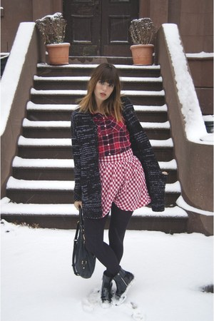 black Zara boots - ruby red Aeropostale shirt - black Marc by Marc Jacobs bag