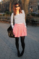 gingham Forever2 skirt - stripes H&M shirt - faux fur r&em bag