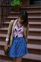 bubble gum Forever21 shirt - brown H&M boots - light brown H&M blazer