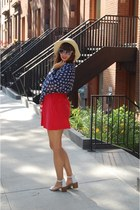off white Zara shoes - red Urban Outfitters dress - Forever 21 hat