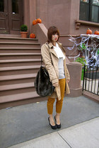 mustard H&M pants - camel H&M coat - heather gray Old Navy sweater